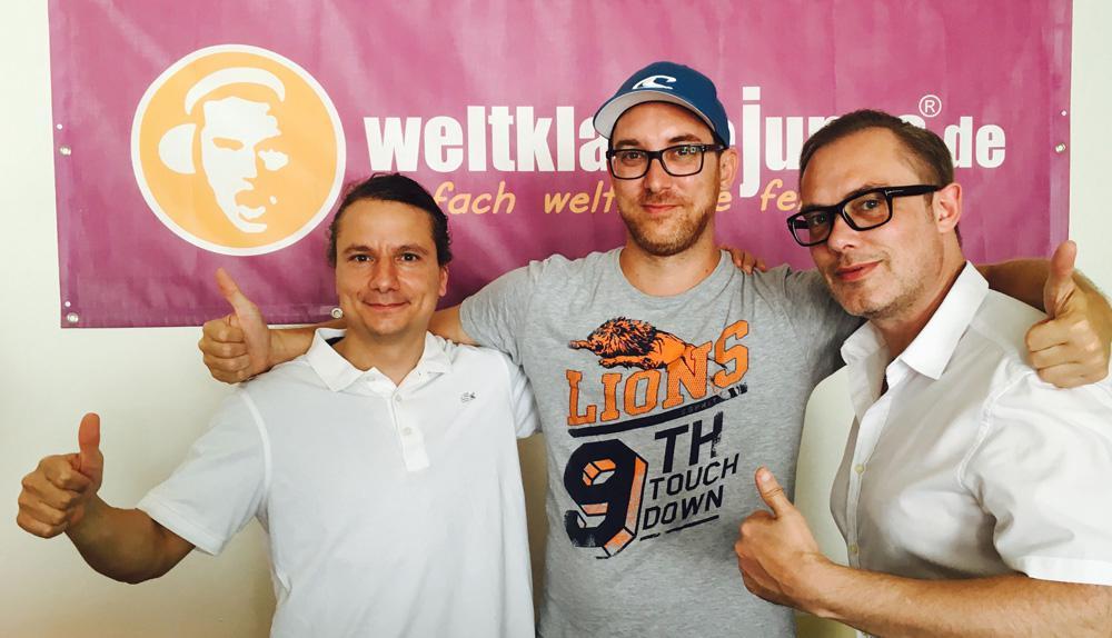 v.l.: Armin Molla (Virado), Melvin Tröscher (weltklassejungs), Achim Hepp (Virado)