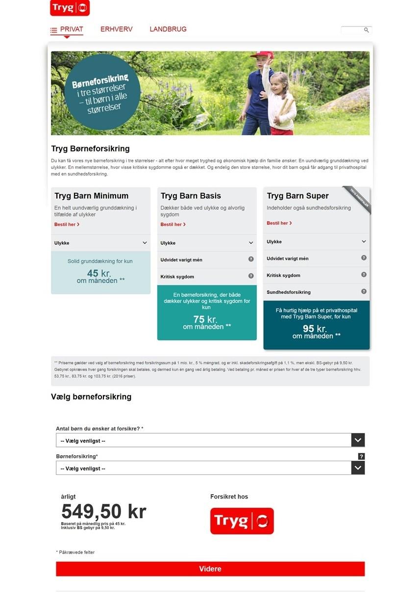 Die Kampagnen-Seite im 'look and feel' von Tryg - komplett basierend auf der massUp-Lösung.
